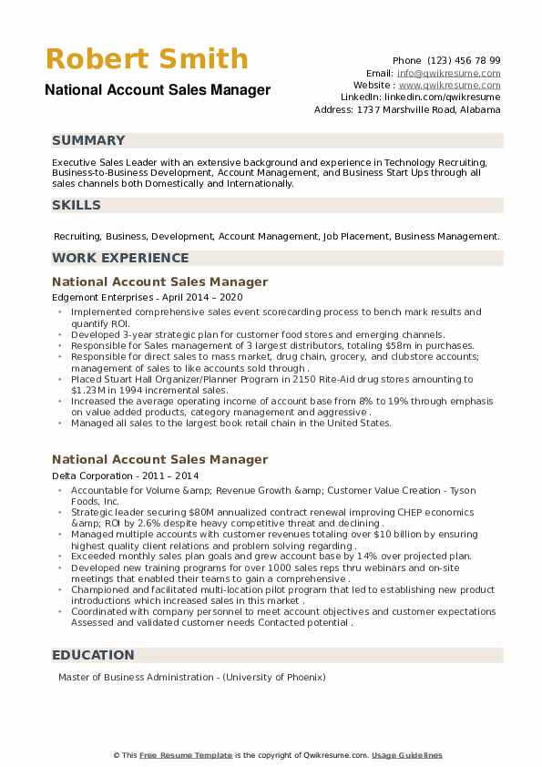 National Account Sales Manager Resume example
