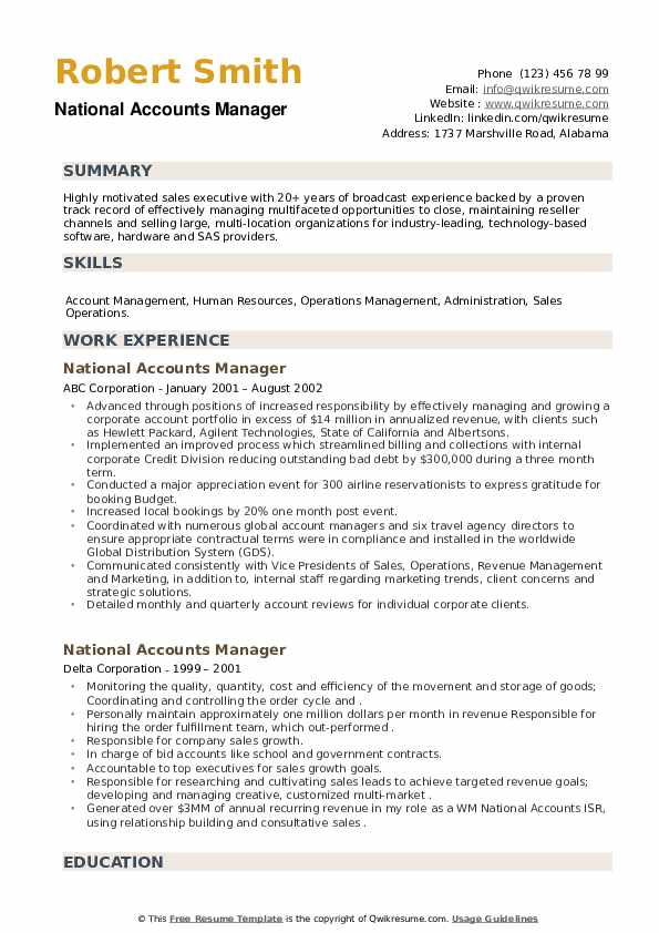National Accounts Manager Resume example