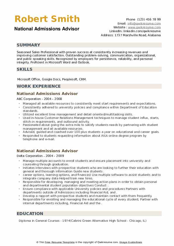 National Admissions Advisor Resume example