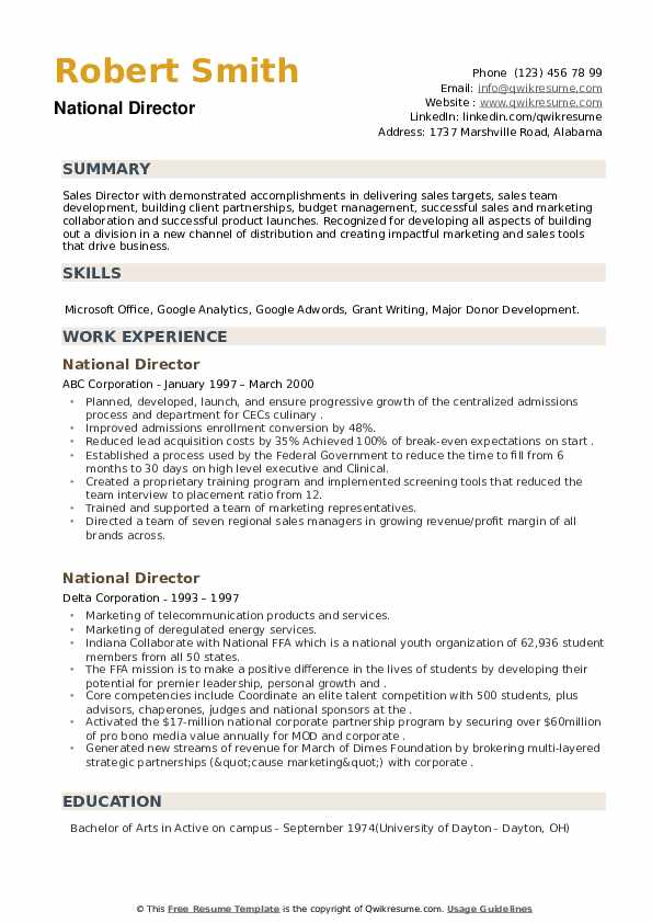 National Director Resume example