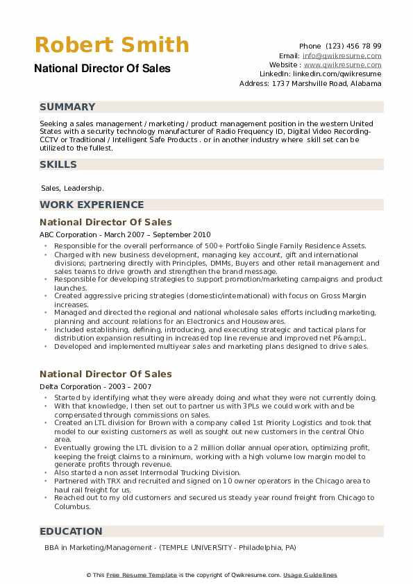 National Director Of Sales Resume example