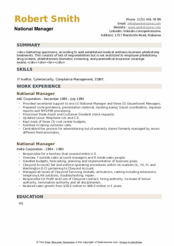 National Manager Resume example