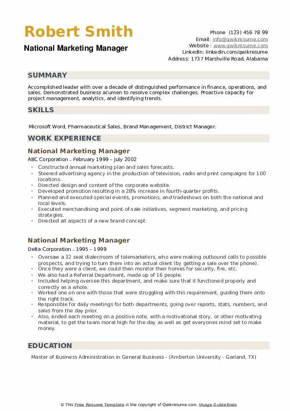 National Marketing Manager Resume example