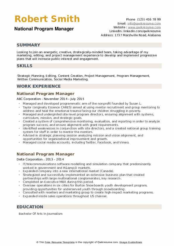National Program Manager Resume example