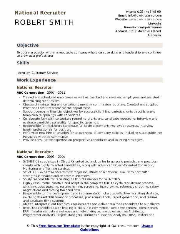 National Recruiter Resume Format