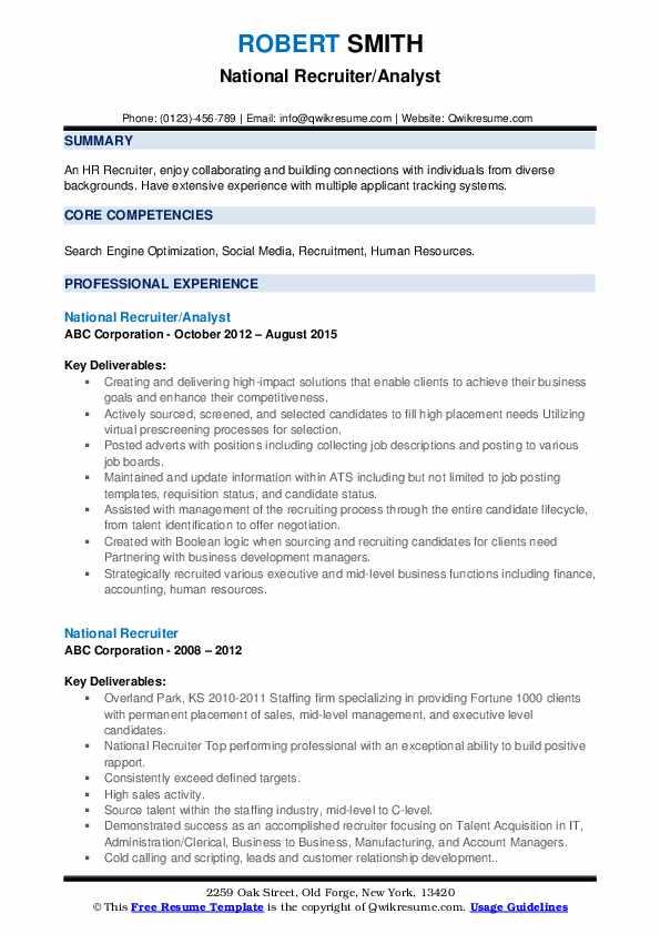National Recruiter/Analyst Resume Model