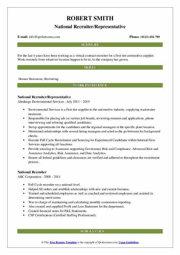 National Recruiter/Representative Resume Template