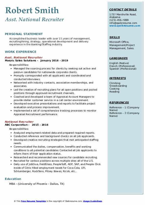 Asst. National Recruiter Resume Model