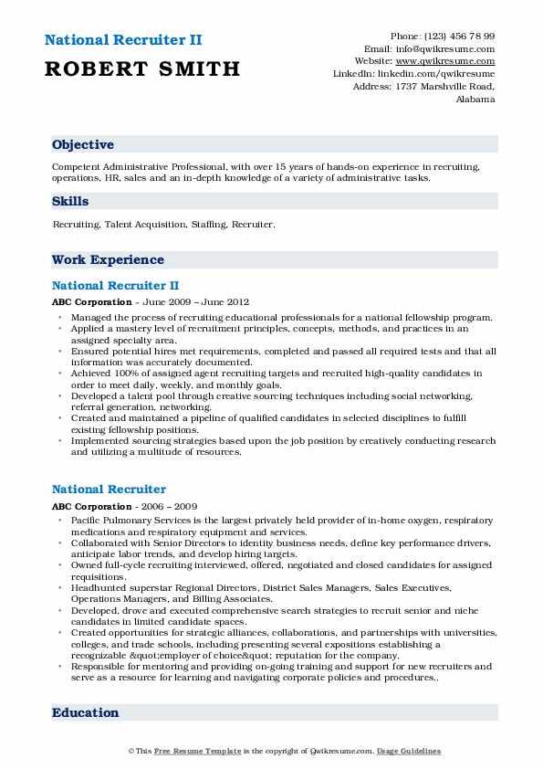 National Recruiter II Resume Template