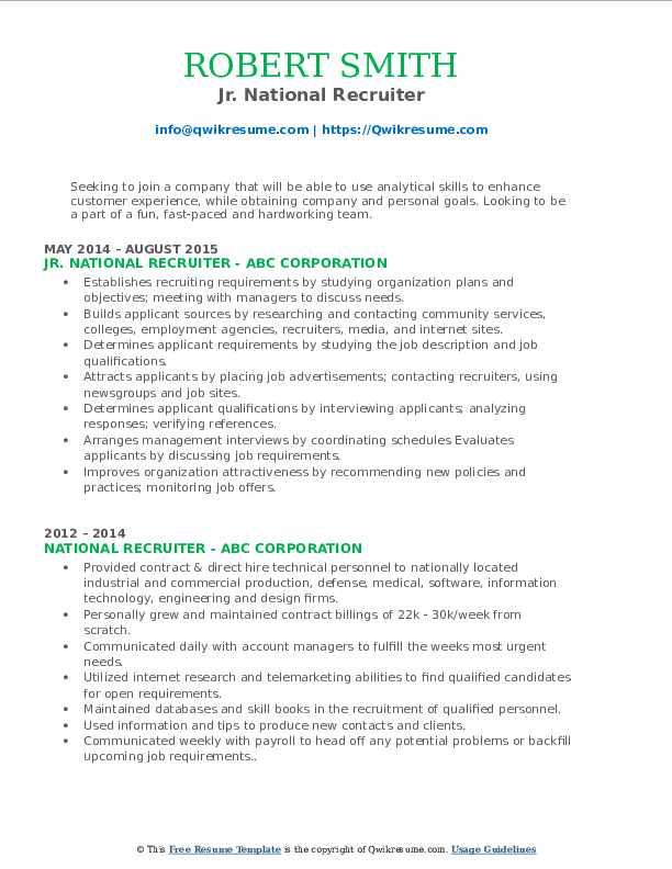 Jr. National Recruiter Resume Sample