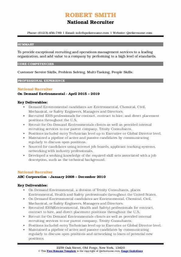 National Recruiter Resume Model