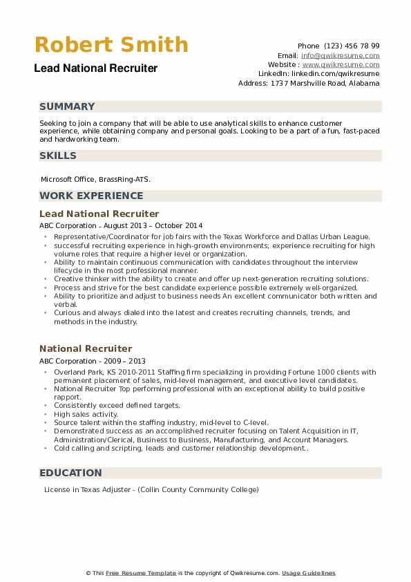 Lead National Recruiter Resume Example