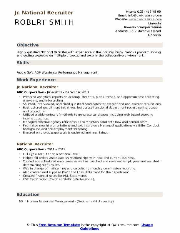 Jr. National Recruiter Resume Model