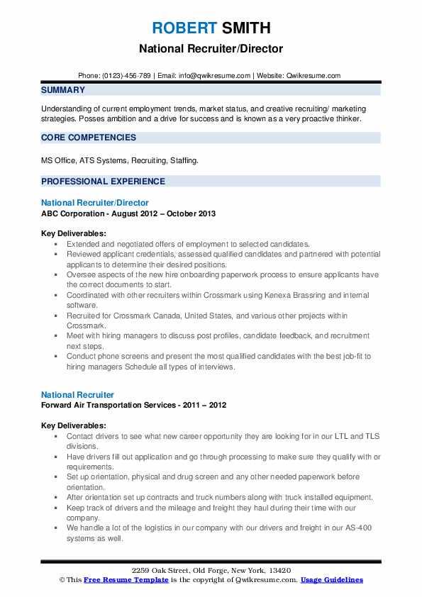 National Recruiter/Director Resume Format