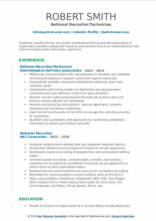 National Recruiter/Technician Resume Example