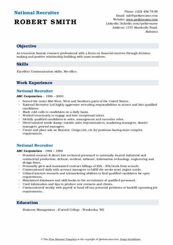 National Recruiter Resume Template