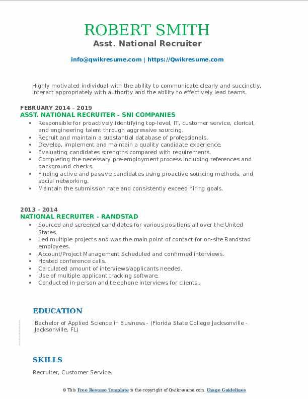 Asst. National Recruiter Resume Example