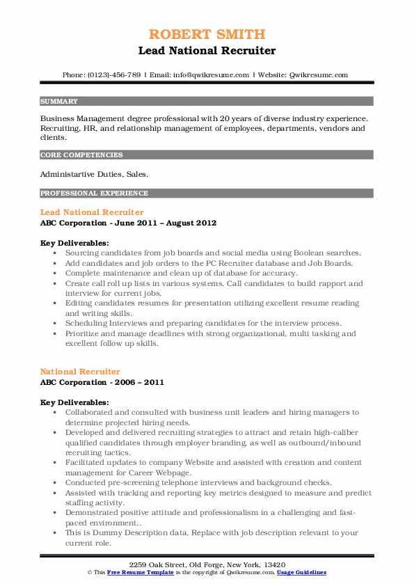 Lead National Recruiter Resume Model