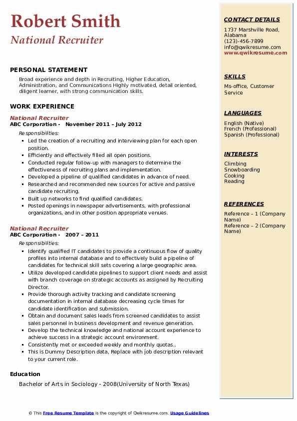 National Recruiter Resume example