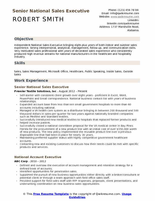 Senior National Sales Executive Resume Sample