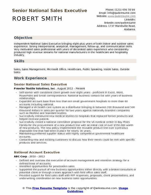 National Sales Executive Resume Samples | QwikResume