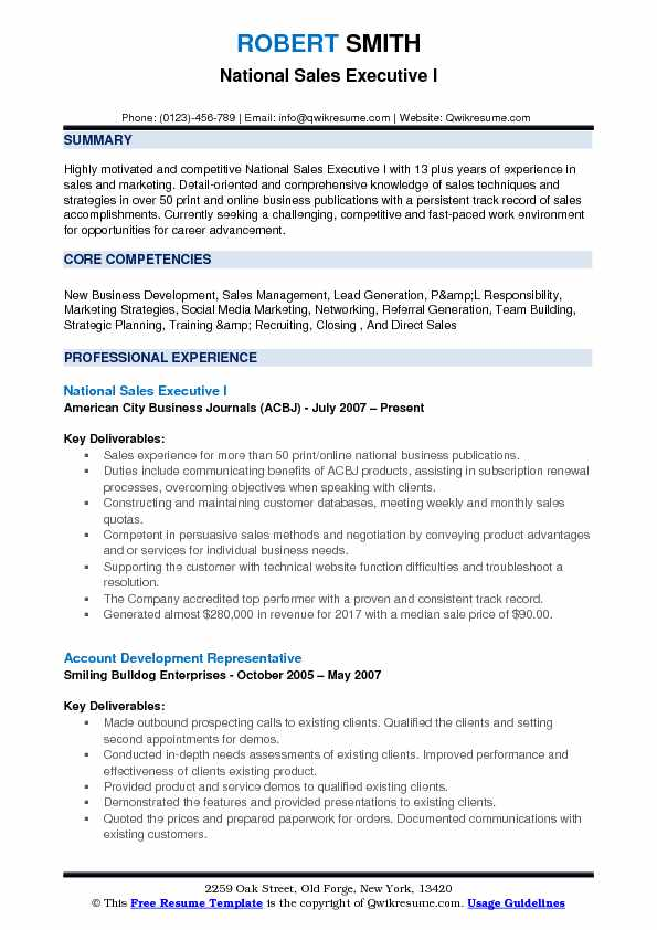 National Sales Executive I Resume Template
