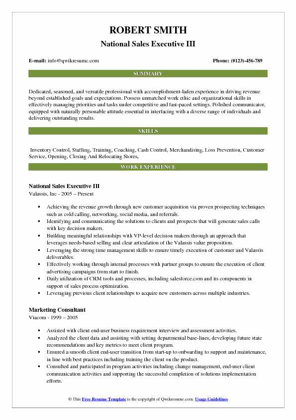 National Sales Executive III Resume Template