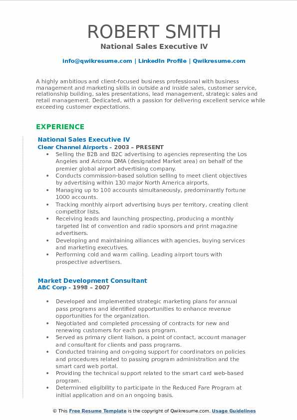 National Sales Executive IV Resume Example