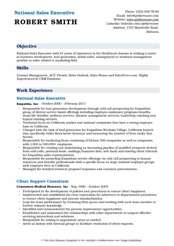 National Sales Executive Resume Template