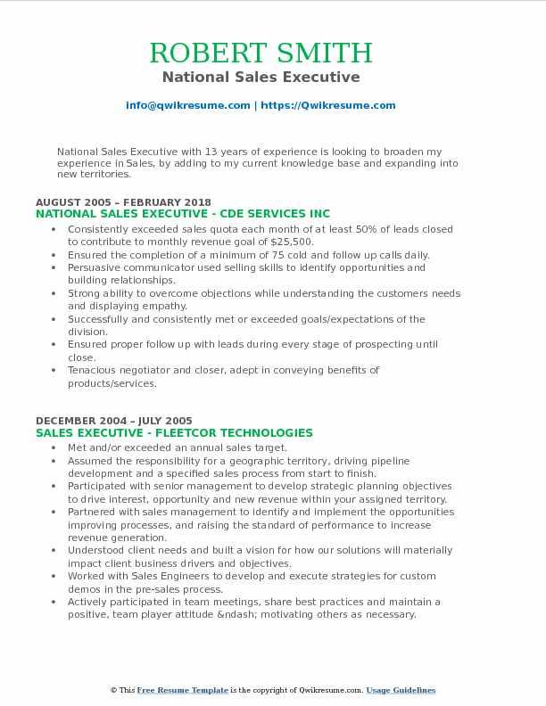 National Sales Executive Resume Format