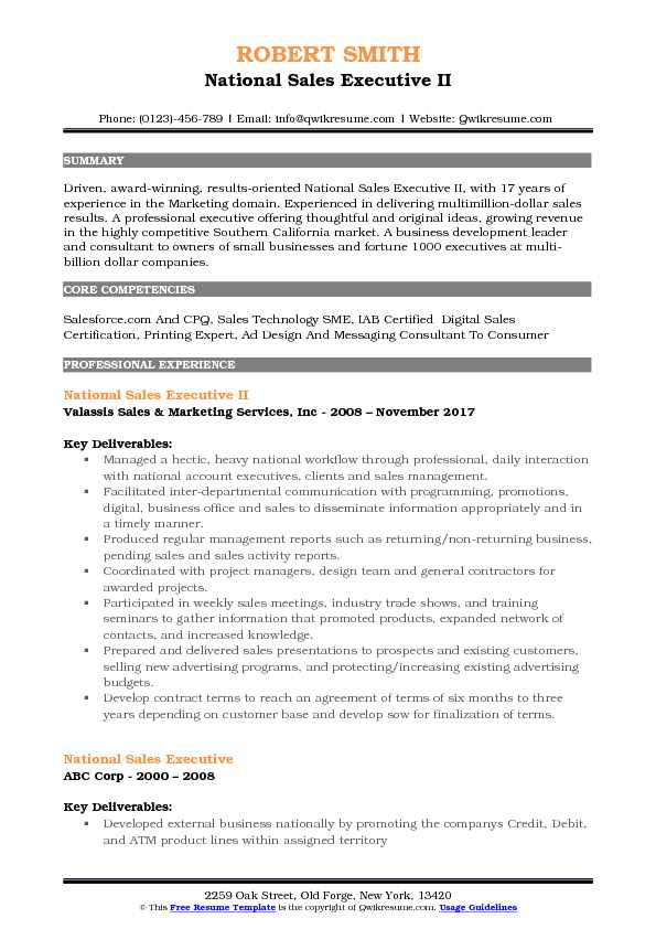 National Sales Executive II Resume Format
