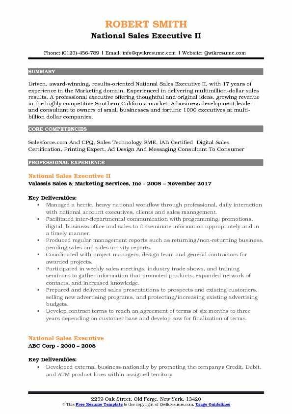 National Sales Executive II Resume Example