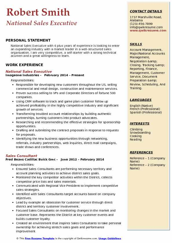 National Sales Executive Resume Sample