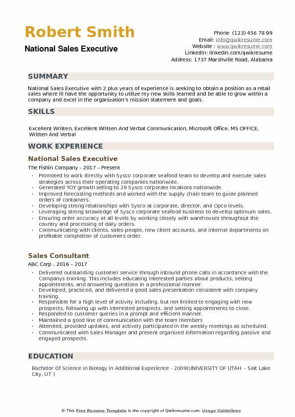National Sales Executive Resume example