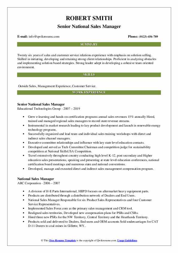 National Sales Manager Resume Samples Qwikresume