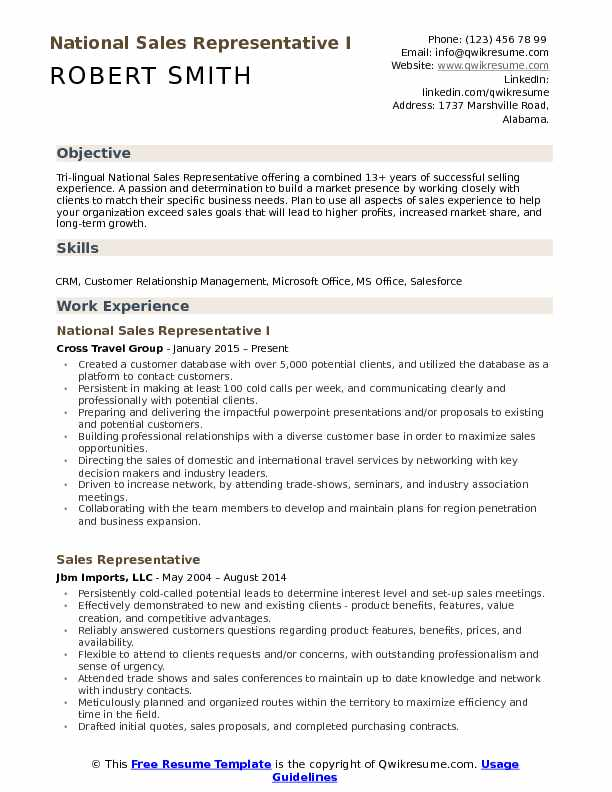 National Sales Representative I Resume Format