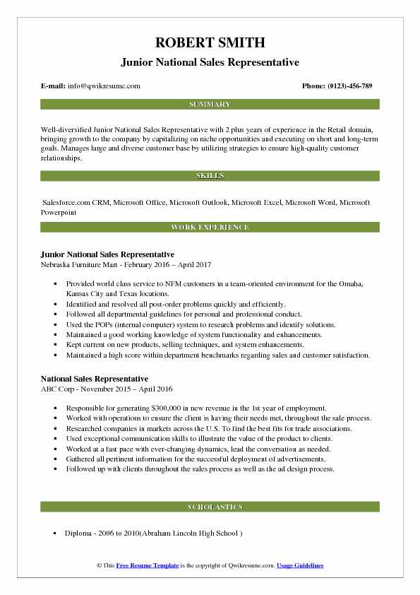 Junior National Sales Representative Resume Format