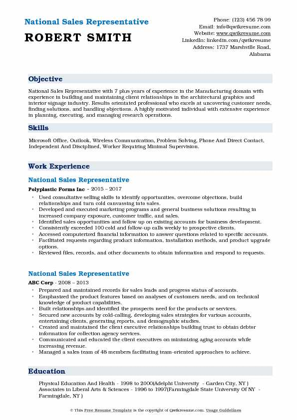 National Sales Representative Resume Format
