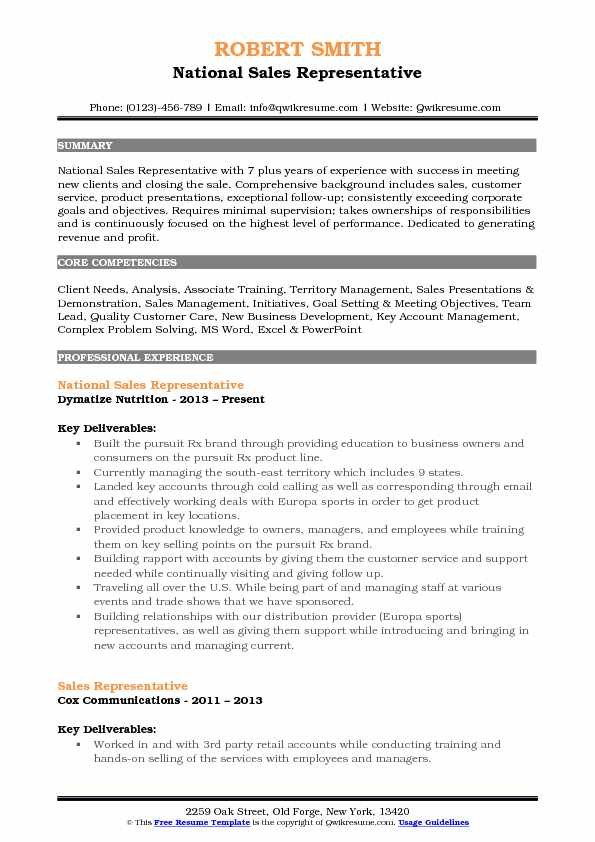 National Sales Representative Resume Example