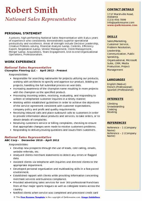National Sales Representative Resume Model