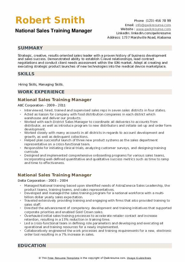 National Sales Training Manager Resume example