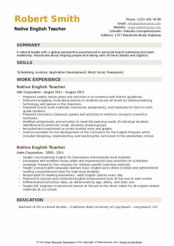 Native English Teacher Resume example