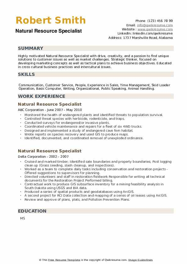 Natural Resource Specialist Resume example