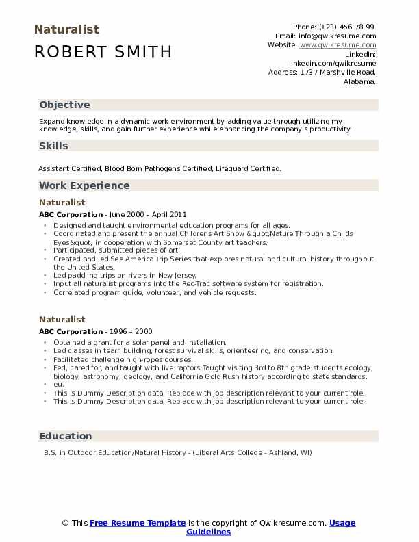 Naturalist Resume example