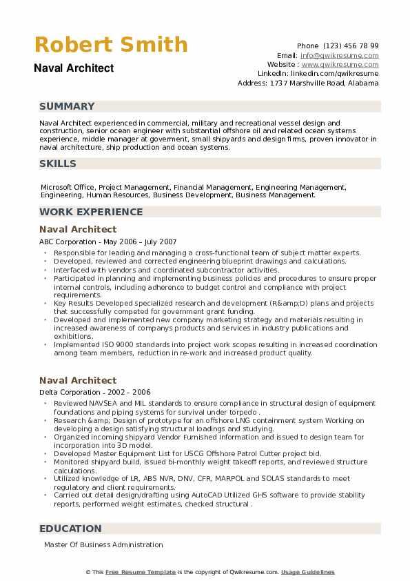 Naval Architect Resume example