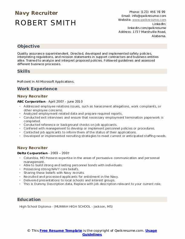navy recruiter resume samples
