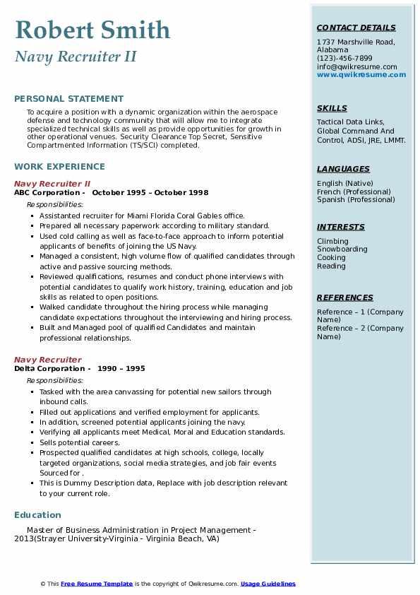 navy recruiter resume samples  qwikresume