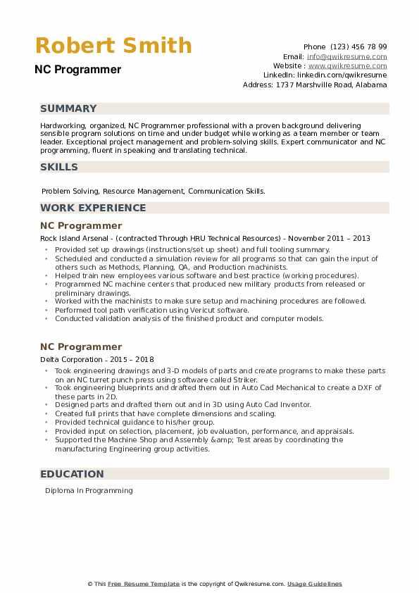 NC Programmer Resume example