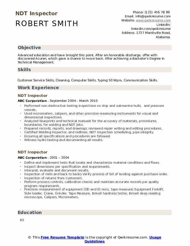 ndt inspector resume samples