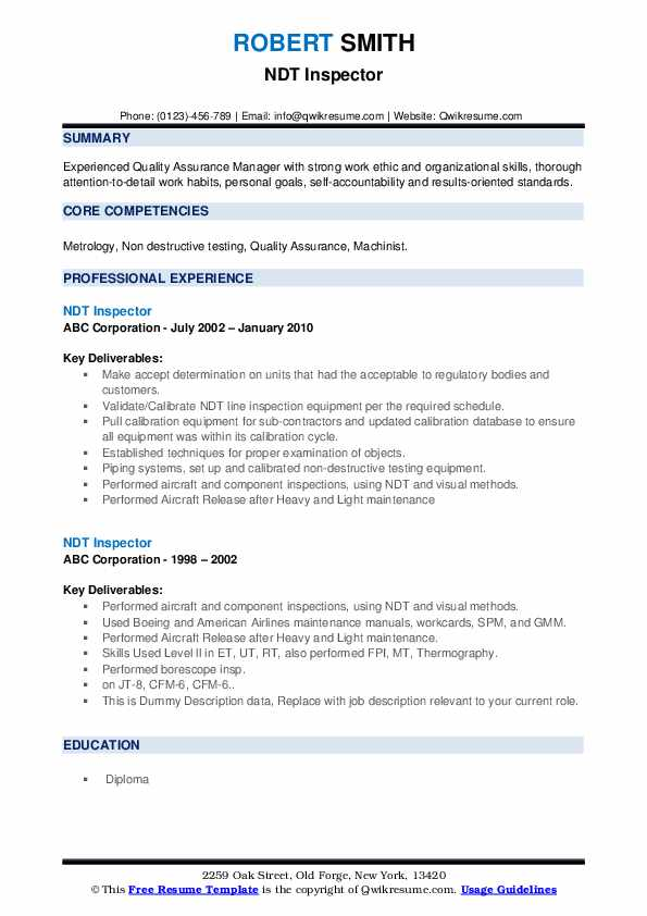 NDT Inspector Resume example